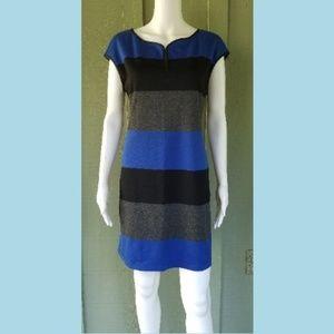 AKRIS PUNTO Blue Gray Black Jersey Dress 10 Eur 42